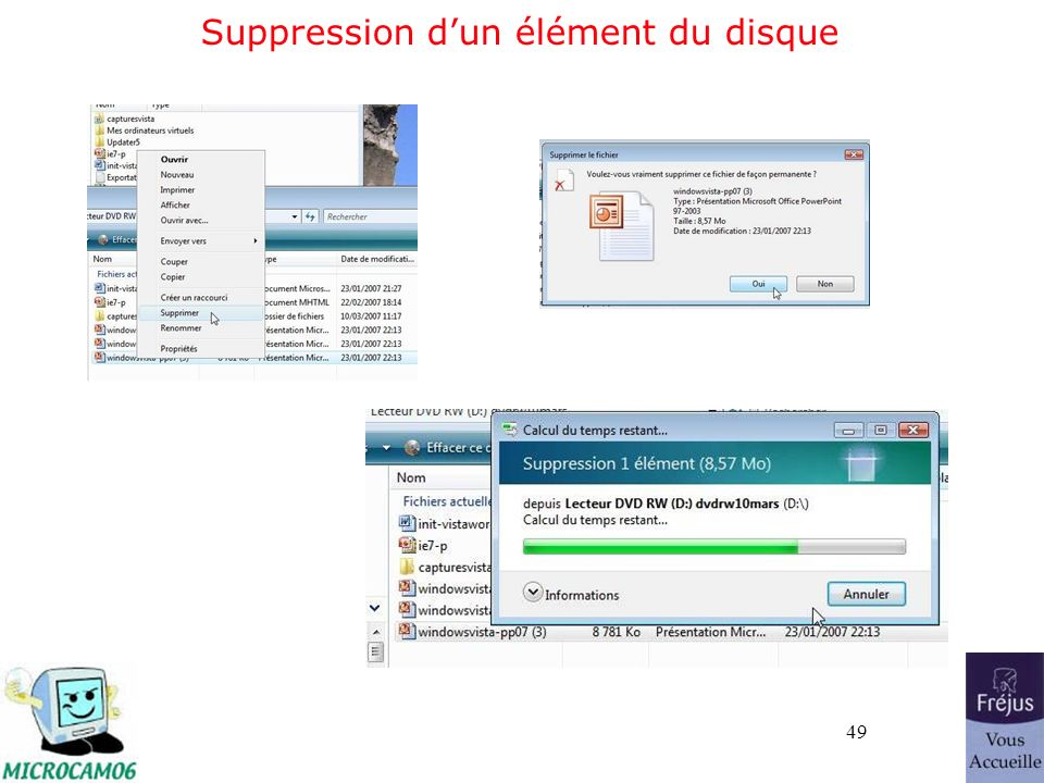 49 Suppression dun élément du disque