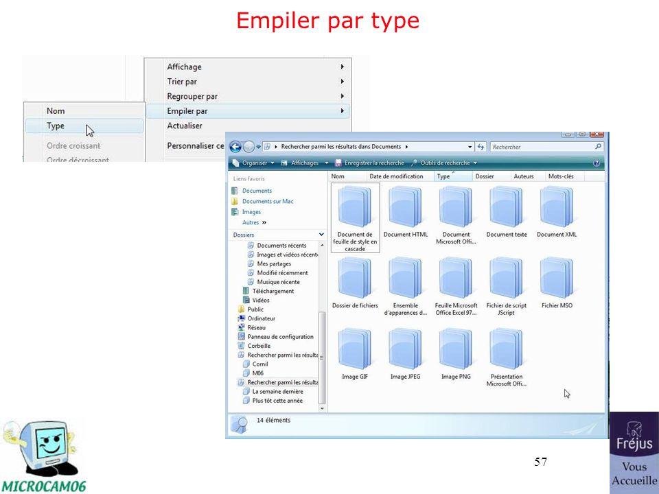 57 Empiler par type