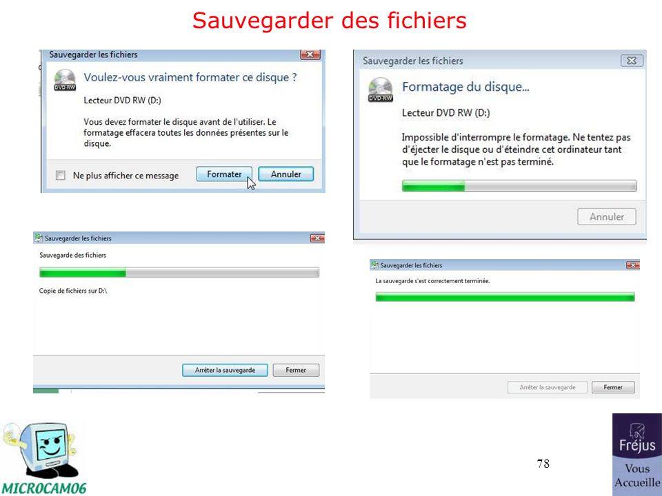 78 Sauvegarder des fichiers