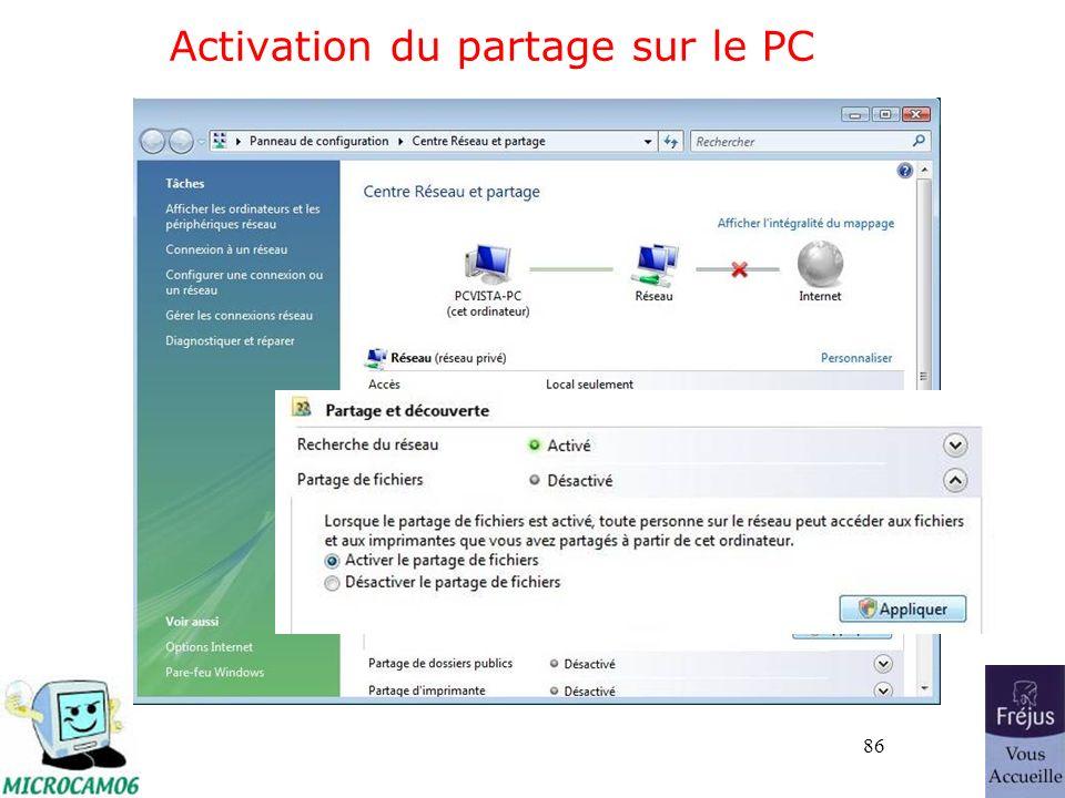86 Activation du partage sur le PC