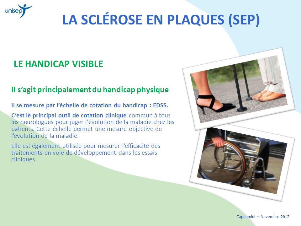 LA SCLÉROSE EN PLAQUES (SEP) LE HANDICAP VISIBLE Il sagit principalement du handicap physique Il se mesure par léchelle de cotation du handicap : EDSS