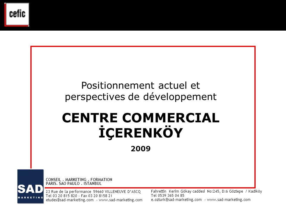 CENTRE COMMERCIAL İÇERENKÖY – ETUDE CLIENTELE - 2009 1 Positionnement actuel et perspectives de développement CENTRE COMMERCIAL İÇERENKÖY 2009 Positio