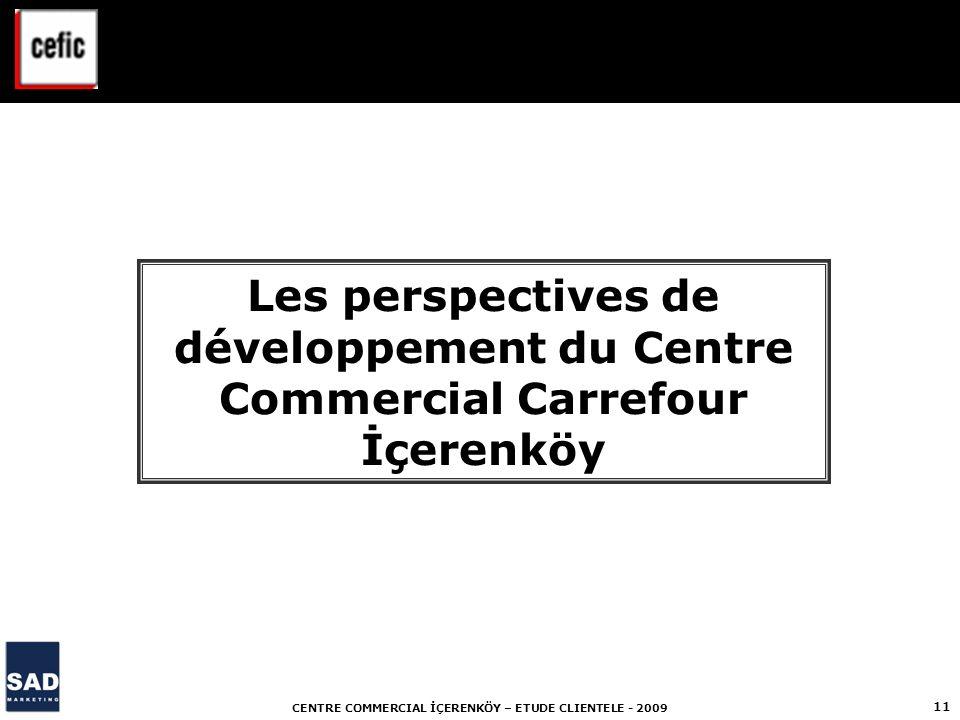 CENTRE COMMERCIAL İÇERENKÖY – ETUDE CLIENTELE - 2009 11 Les perspectives de développement du Centre Commercial Carrefour İçerenköy