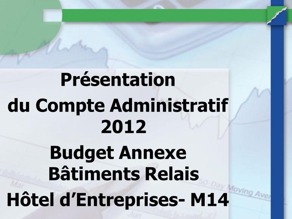Présentation du Compte Administratif 2012 Budget Annexe Bâtiments Relais Hôtel dEntreprises- M14