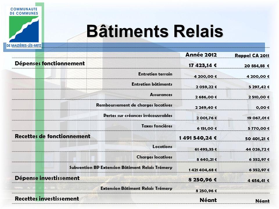 Bâtiments Relais Année 2012 Rappel CA 2011 Dépenses fonctionnement 17 423,14 20 884,88 Entretien terrain 4 200,00 Entretien bâtiments 2 059,22 5 297,4