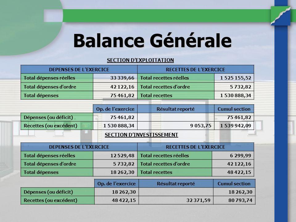 Balance Générale DEPENSES DE LEXERCICERECETTES DE LEXERCICE Total dépenses réelles33 339,66Total recettes réelles1 525 155,52 Total dépenses dordre42