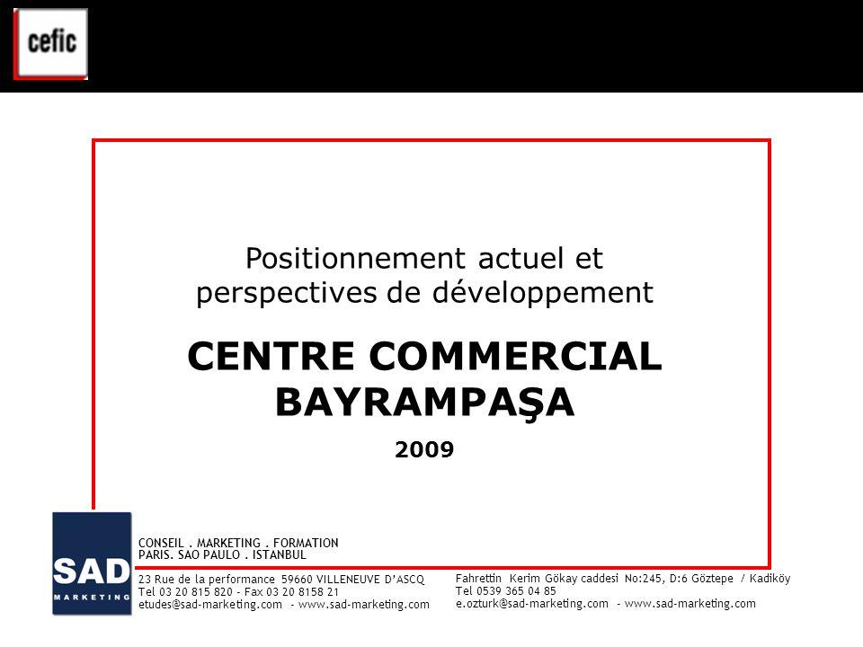 CENTRE COMMERCIAL BAYRAMPAŞA – ETUDE CLIENTELE - 2009 1 Positionnement actuel et perspectives de développement CENTRE COMMERCIAL BAYRAMPAŞA 2009 Posit