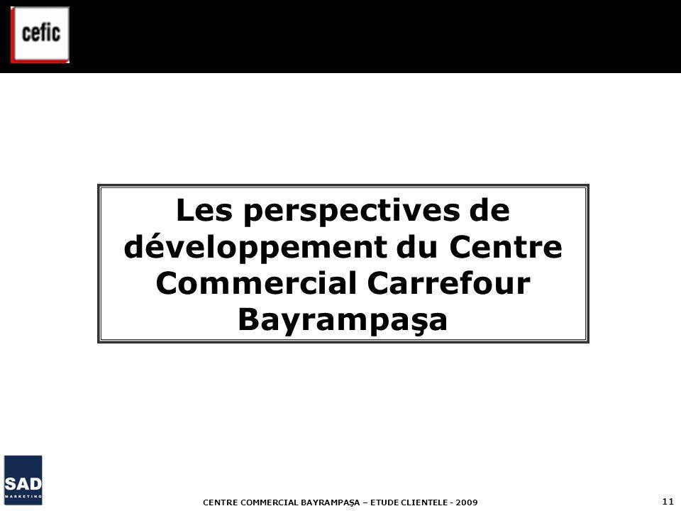 CENTRE COMMERCIAL BAYRAMPAŞA – ETUDE CLIENTELE - 2009 11 Les perspectives de développement du Centre Commercial Carrefour Bayrampaşa