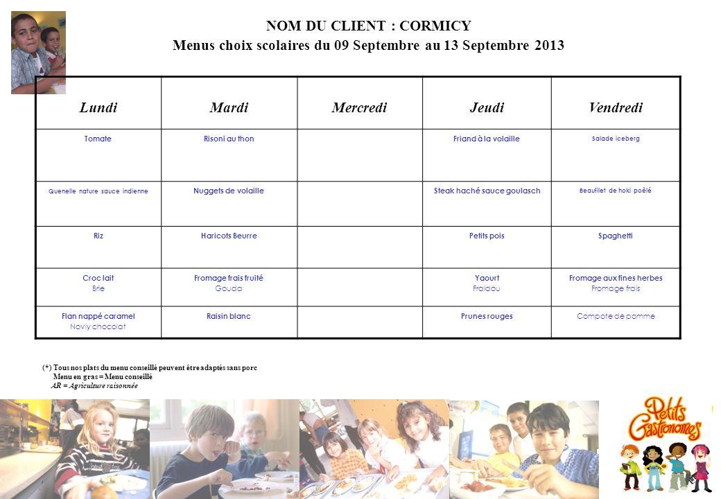 NOM DU CLIENT : CORMICY Menus choix scolaires du 09 Septembre au 13 Septembre 2013 LundiMardiMercrediJeudiVendredi TomateRisoni au thonFriand à la vol