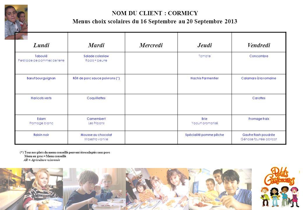 NOM DU CLIENT : CORMICY Menus choix scolaires du 16 Septembre au 20 Septembre 2013 LundiMardiMercrediJeudiVendredi Taboulé Persillade de pommes de ter
