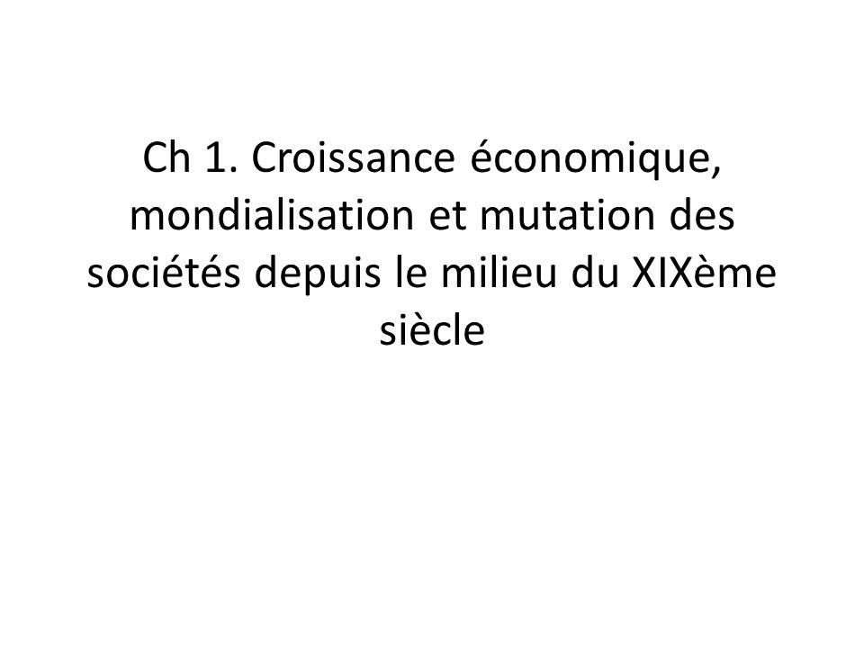 Ch 1. Croissance économique, mondialisation et mutation des sociétés depuis le milieu du XIXème siècle