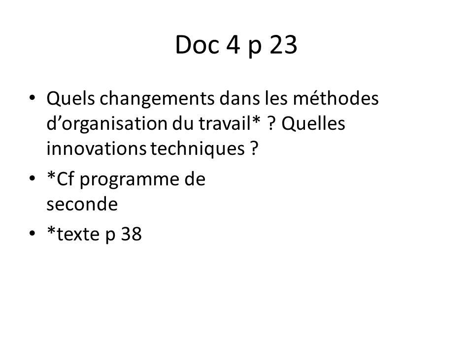 Doc 4 p 23 Quels changements dans les méthodes dorganisation du travail* ? Quelles innovations techniques ? *Cf programme de seconde *texte p 38