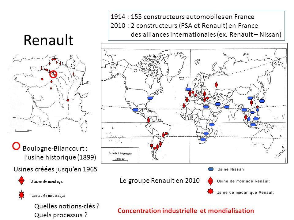 Renault Boulogne-Bilancourt : lusine historique (1899) Usines créées jusquen 1965 Le groupe Renault en 2010 1914 : 155 constructeurs automobiles en Fr