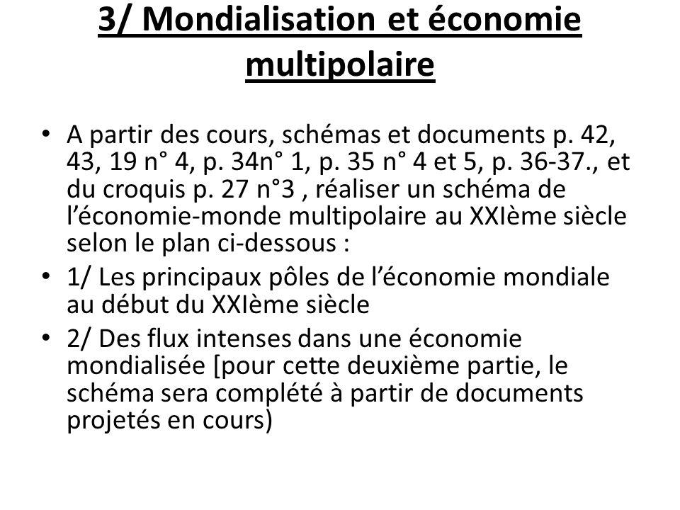 3/ Mondialisation et économie multipolaire A partir des cours, schémas et documents p. 42, 43, 19 n° 4, p. 34n° 1, p. 35 n° 4 et 5, p. 36-37., et du c
