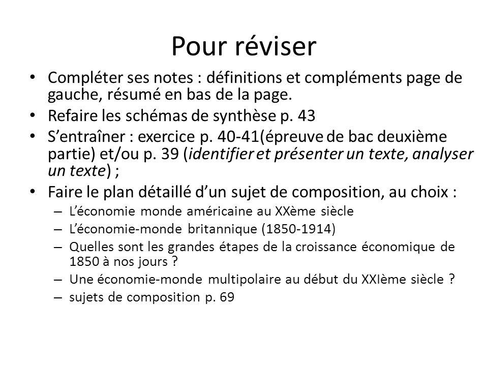 Pour réviser Compléter ses notes : définitions et compléments page de gauche, résumé en bas de la page. Refaire les schémas de synthèse p. 43 Sentraîn