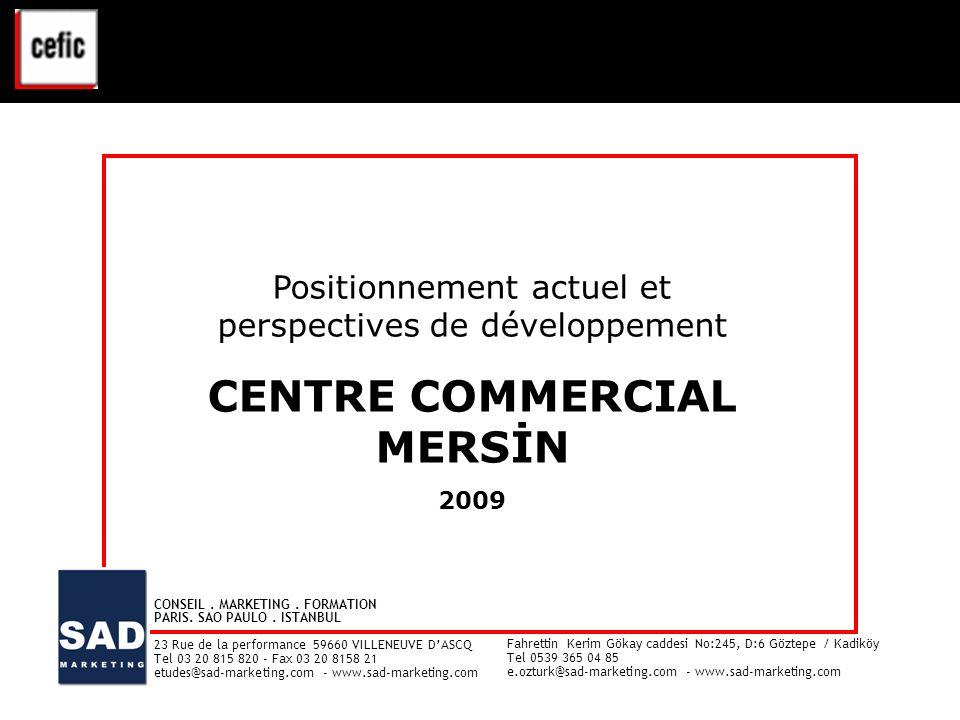 CENTRE COMMERCIAL MERSİN – ETUDE CLIENTELE - 2009 1 Positionnement actuel et perspectives de développement CENTRE COMMERCIAL MERSİN 2009 Positionnemen