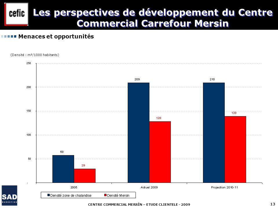 CENTRE COMMERCIAL MERSİN – ETUDE CLIENTELE - 2009 13 Menaces et opportunités Les perspectives de développement du Centre Commercial Carrefour Mersin (