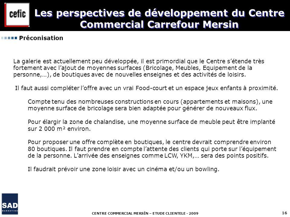 CENTRE COMMERCIAL MERSİN – ETUDE CLIENTELE - 2009 16 Préconisation Les perspectives de développement du Centre Commercial Carrefour Mersin La galerie