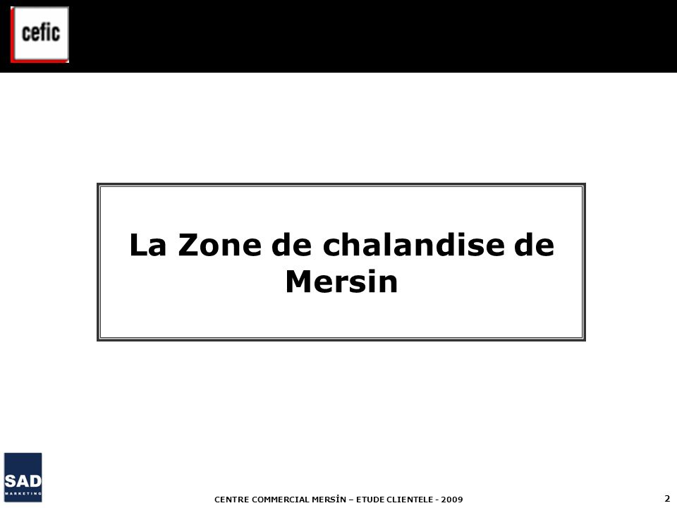 CENTRE COMMERCIAL MERSİN – ETUDE CLIENTELE - 2009 2 La Zone de chalandise de Mersin