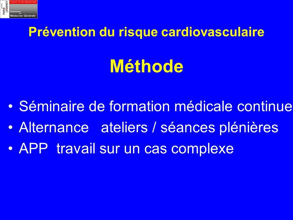 Prévention du risque cardiovasculaire Méthode Séminaire de formation médicale continue Alternance ateliers / séances plénières APP travail sur un cas complexe