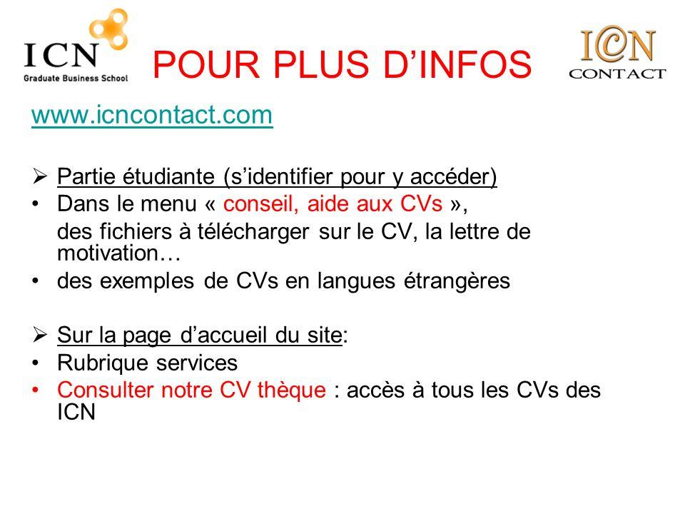 POUR PLUS DINFOS www.icncontact.com Partie étudiante (sidentifier pour y accéder) Dans le menu « conseil, aide aux CVs », des fichiers à télécharger s