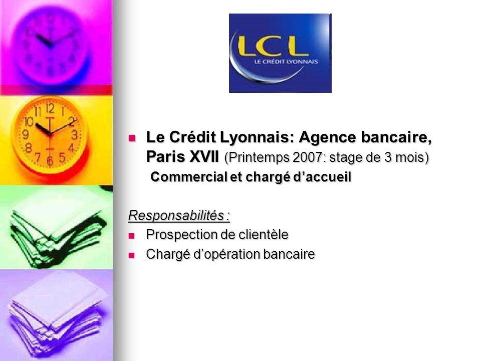 Le Crédit Lyonnais: Agence bancaire, Paris XVII (Printemps 2007: stage de 3 mois) Le Crédit Lyonnais: Agence bancaire, Paris XVII (Printemps 2007: sta