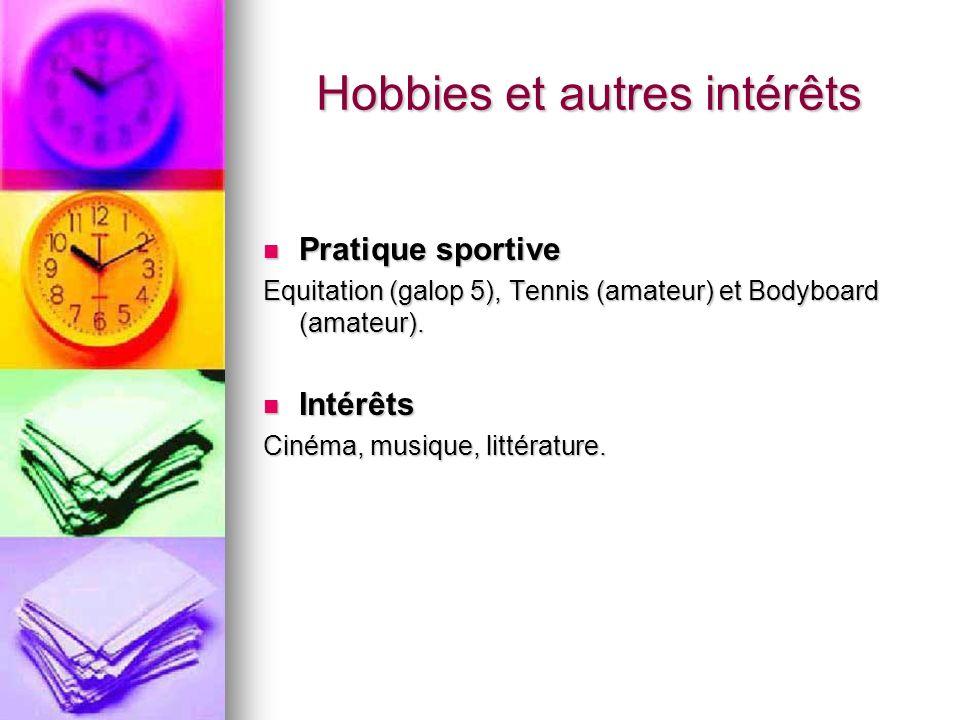 Hobbies et autres intérêts Pratique sportive Pratique sportive Equitation (galop 5), Tennis (amateur) et Bodyboard (amateur). Intérêts Intérêts Cinéma