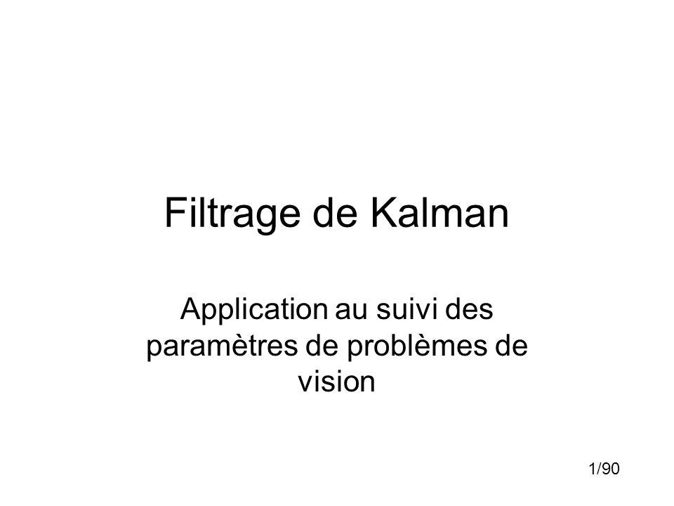 Filtrage de Kalman Application au suivi des paramètres de problèmes de vision 1/90