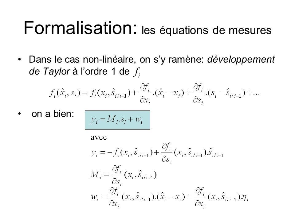 Formalisation: les équations de mesures Dans le cas non-linéaire, on sy ramène: développement de Taylor à lordre 1 de on a bien: