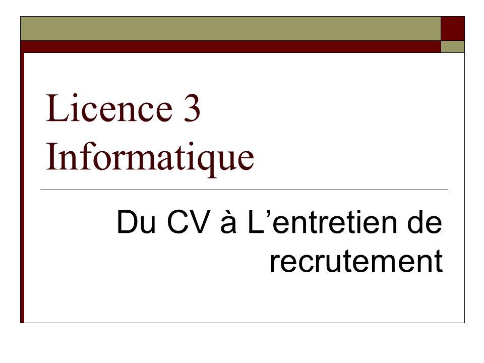 Licence 3 Informatique Du CV à Lentretien de recrutement