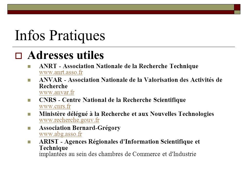 Infos Pratiques Adresses utiles ANRT - Association Nationale de la Recherche Technique www.anrt.asso.fr www.anrt.asso.fr ANVAR - Association Nationale