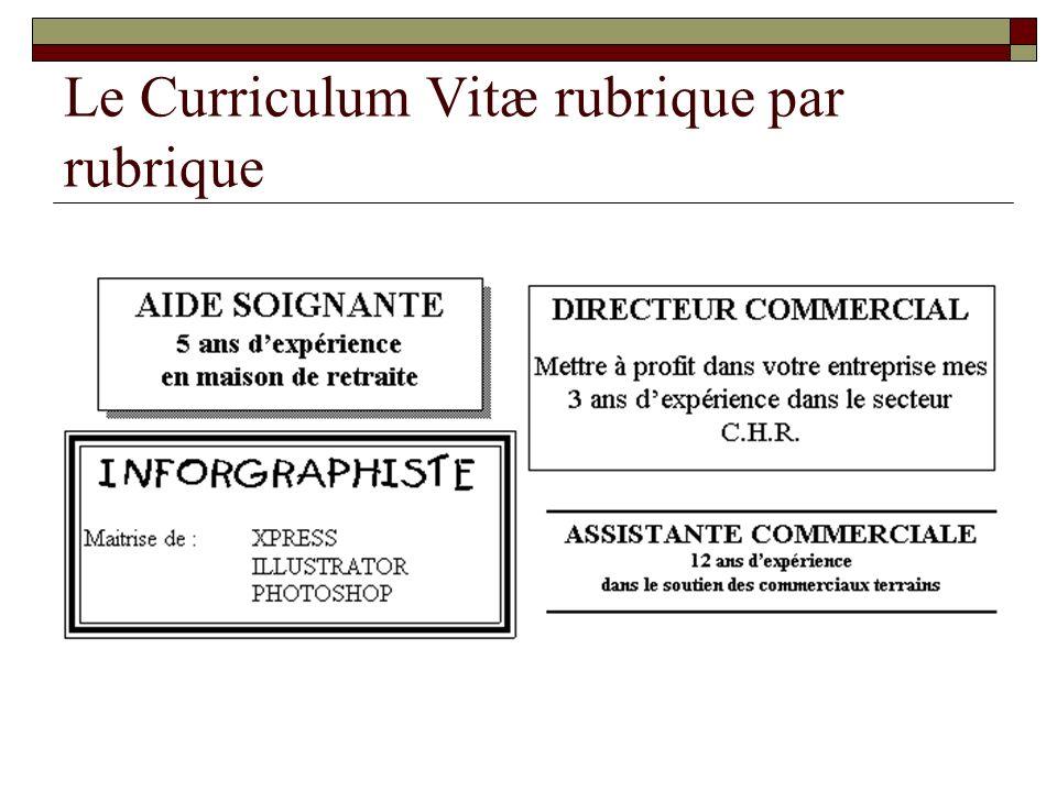 Le Curriculum Vitæ rubrique par rubrique
