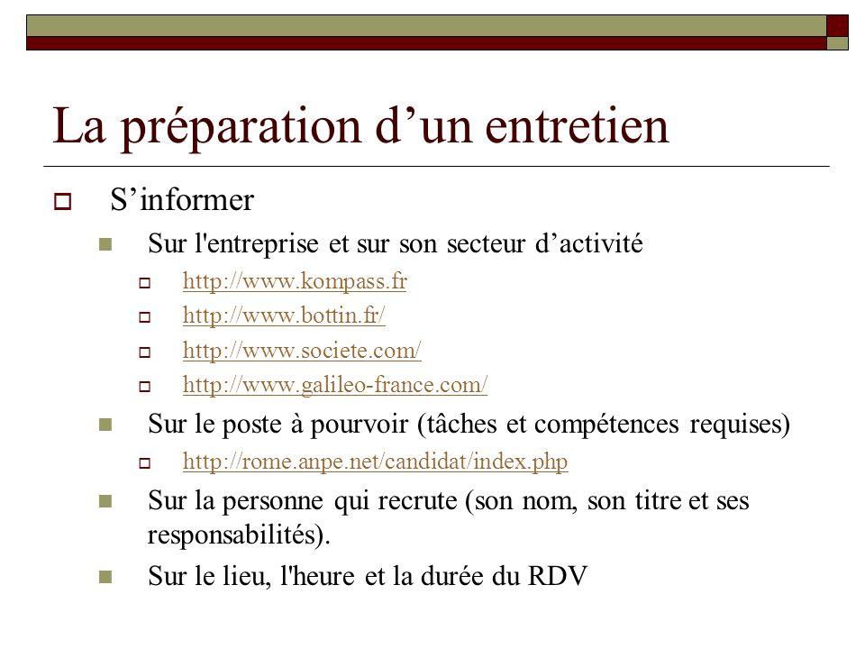 La préparation dun entretien Sinformer Sur l'entreprise et sur son secteur dactivité http://www.kompass.fr http://www.bottin.fr/ http://www.societe.co