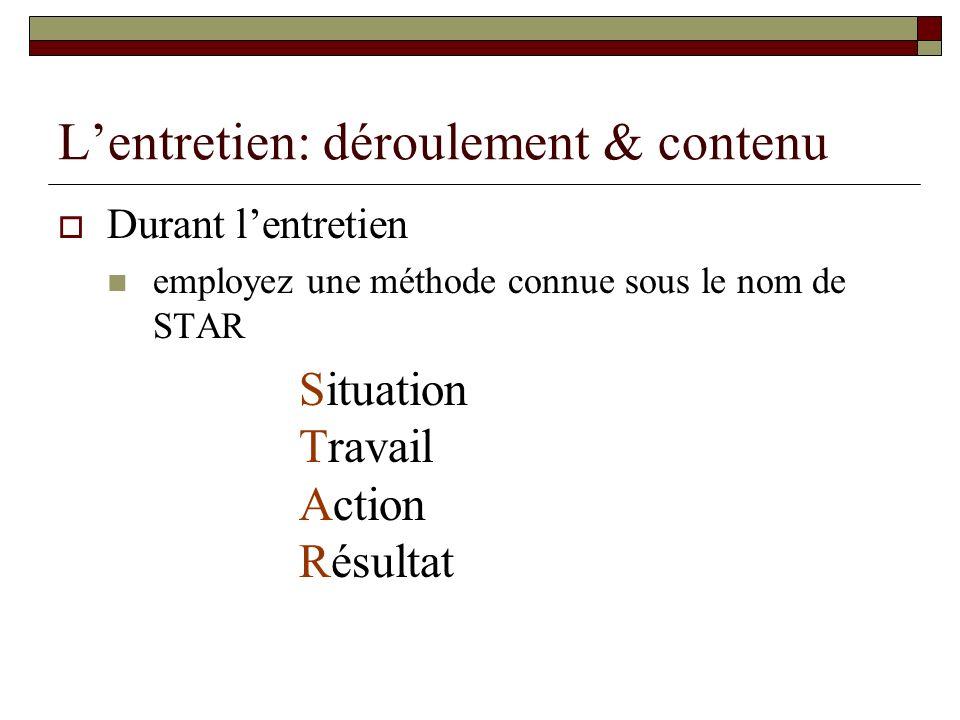 Lentretien: déroulement & contenu Durant lentretien employez une méthode connue sous le nom de STAR Situation Travail Action Résultat