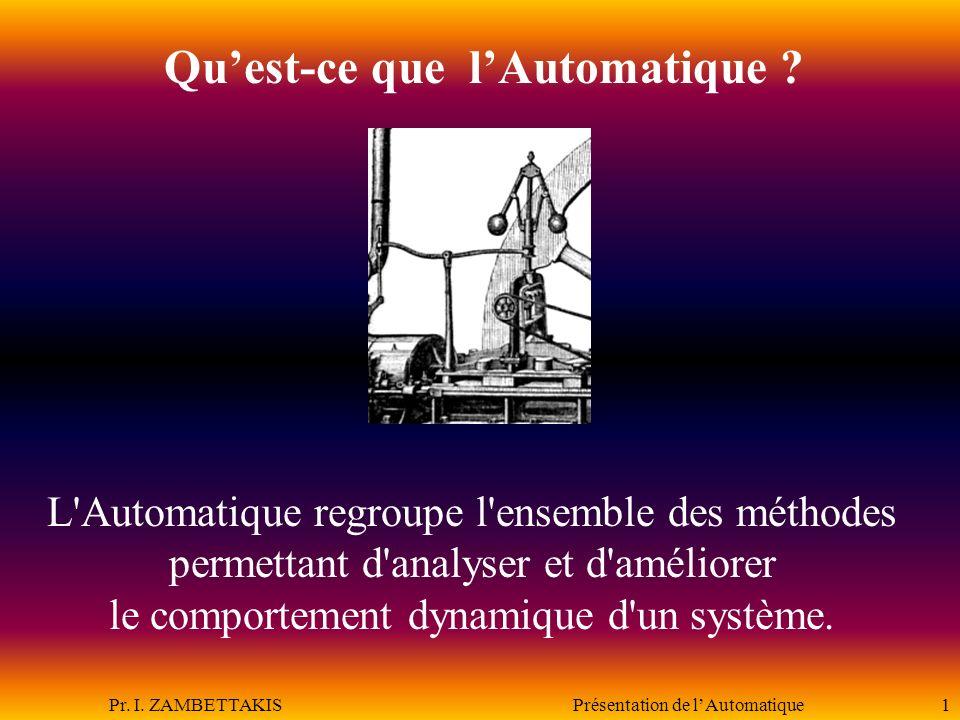 Pr.I. ZAMBETTAKIS Présentation de lAutomatique2 De quoi va-t-on parler.