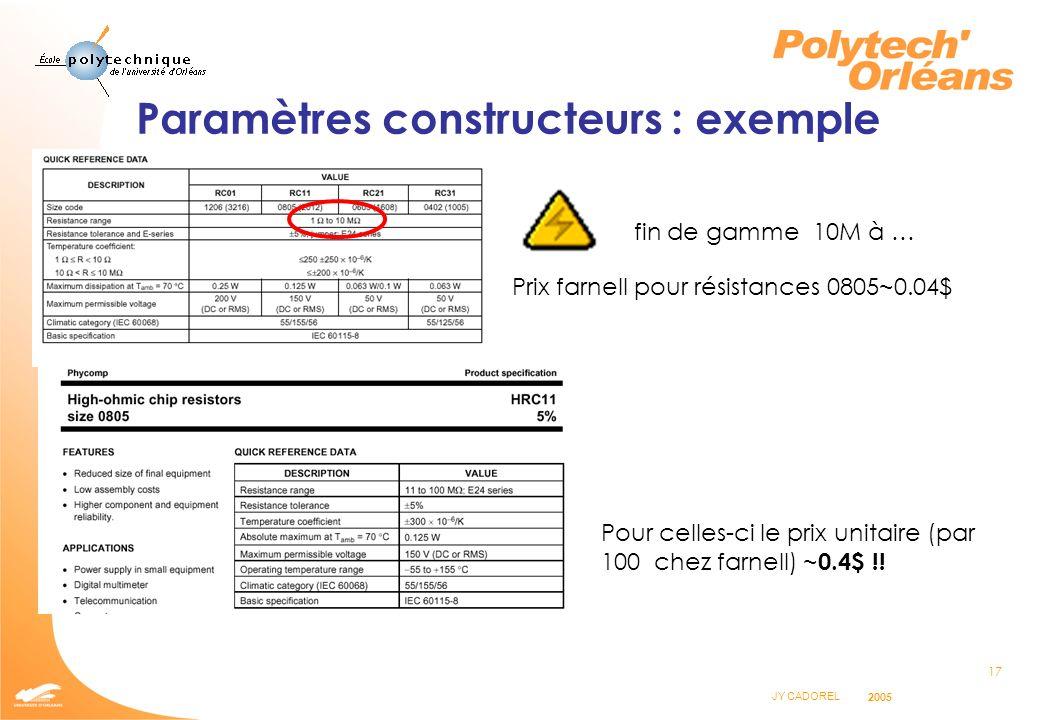 17 JY CADOREL 2005 Paramètres constructeurs : exemple fin de gamme 10M à … Pour celles-ci le prix unitaire (par 100 chez farnell) ~ 0.4$ !! Prix farne