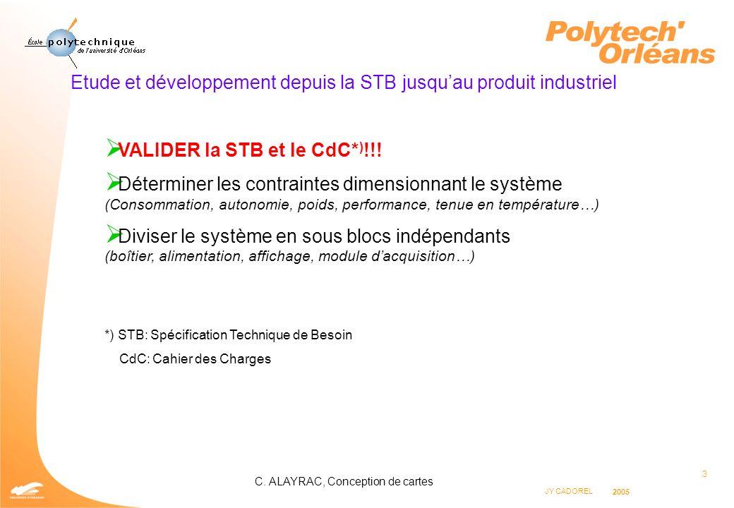 3 JY CADOREL 2005 C. ALAYRAC, Conception de cartes Etude et développement depuis la STB jusquau produit industriel VALIDER la STB et le CdC* ) !!! Dét