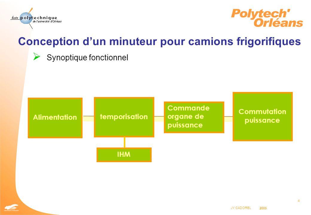 4 JY CADOREL 2005 Conception dun minuteur pour camions frigorifiques Synoptique fonctionnel Alimentation temporisation Commande organe de puissance Co