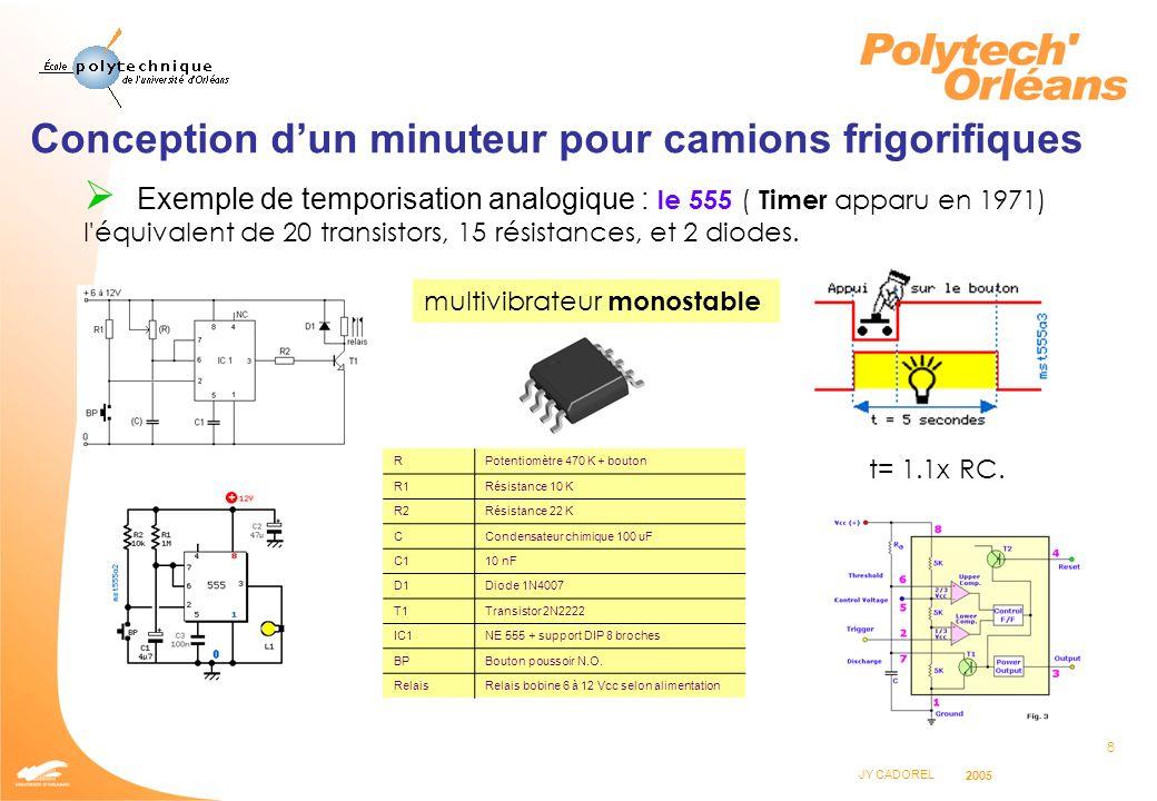 8 JY CADOREL 2005 Conception dun minuteur pour camions frigorifiques Exemple de temporisation analogique : le 555 ( Timer apparu en 1971) l'équivalent
