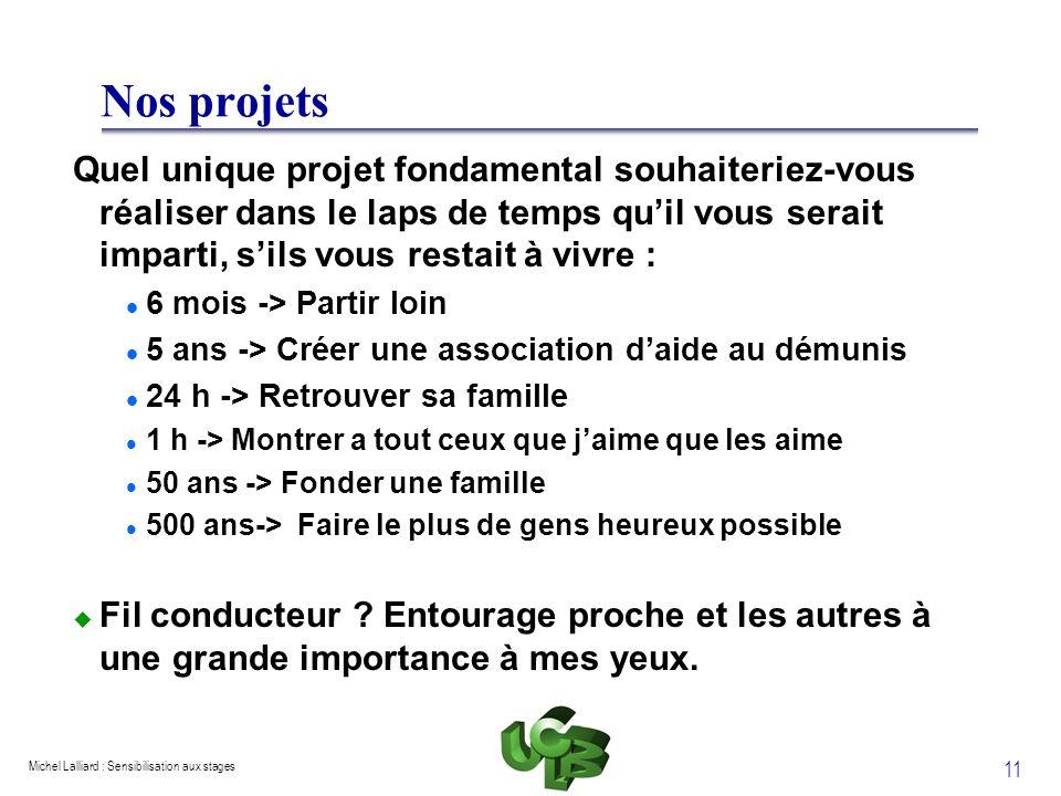 Michel Lalliard : Sensibilisation aux stages 11 Nos projets Quel unique projet fondamental souhaiteriez-vous réaliser dans le laps de temps quil vous