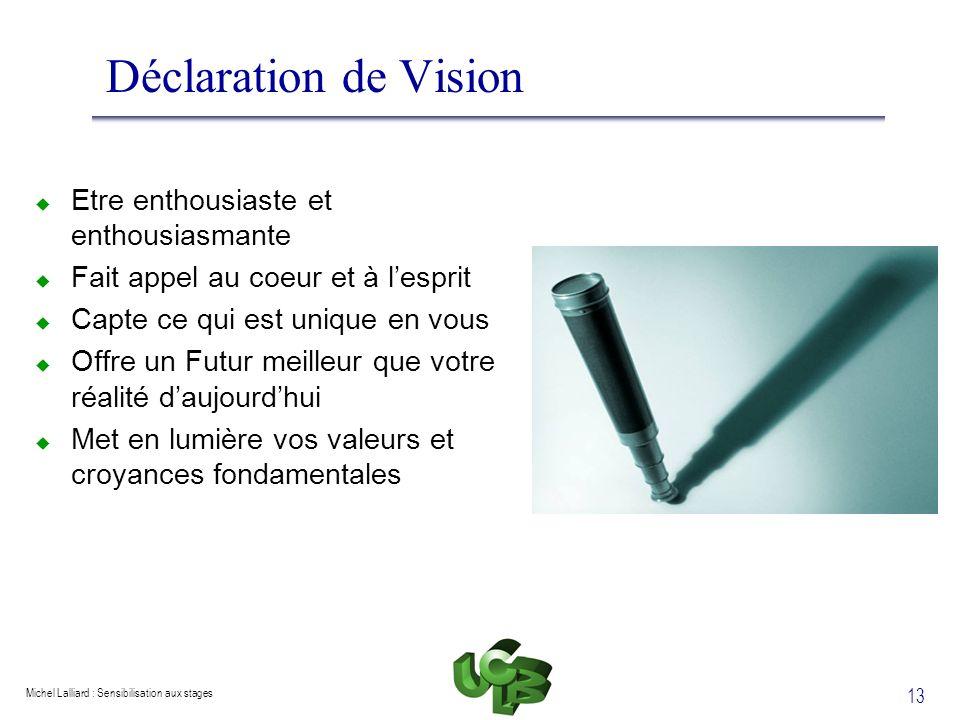Michel Lalliard : Sensibilisation aux stages 13 Déclaration de Vision Etre enthousiaste et enthousiasmante Fait appel au coeur et à lesprit Capte ce q