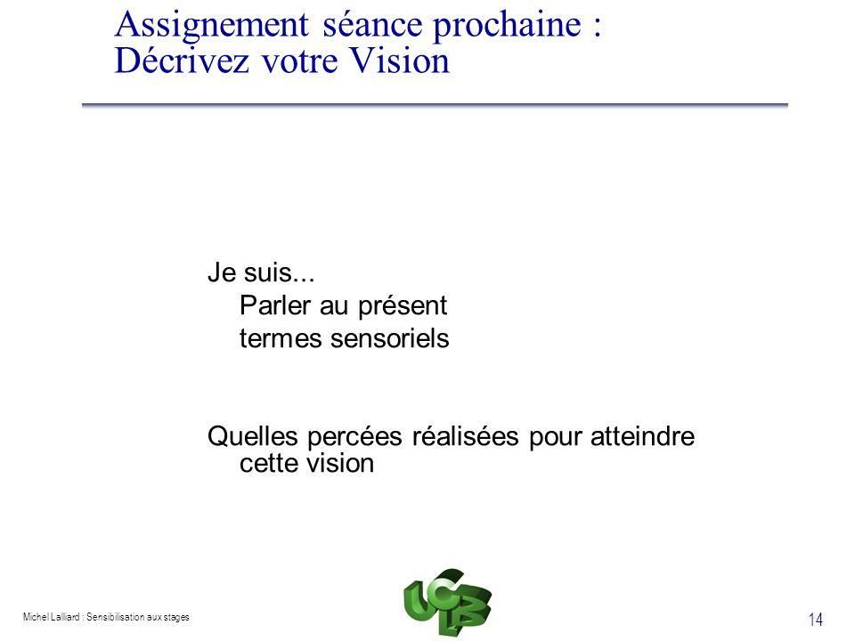 Michel Lalliard : Sensibilisation aux stages 14 Assignement séance prochaine : Décrivez votre Vision Je suis... Parler au présent termes sensoriels Qu