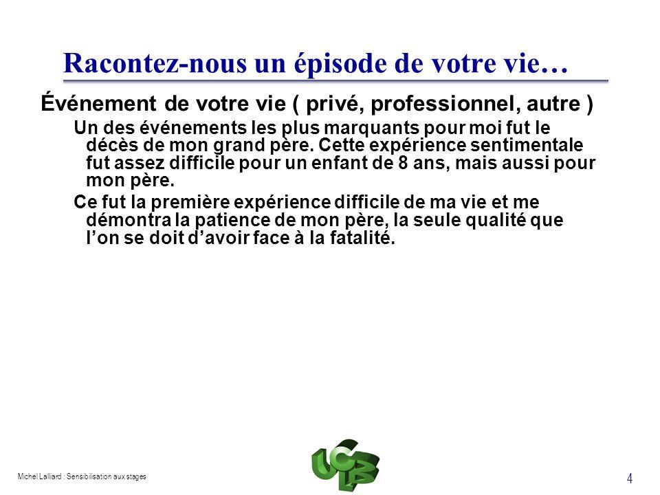 Michel Lalliard : Sensibilisation aux stages 5 Valeurs-1 Définition Croyances qui tracent la ligne de conduite dune personne, qui montrent ce que vaut une personne.