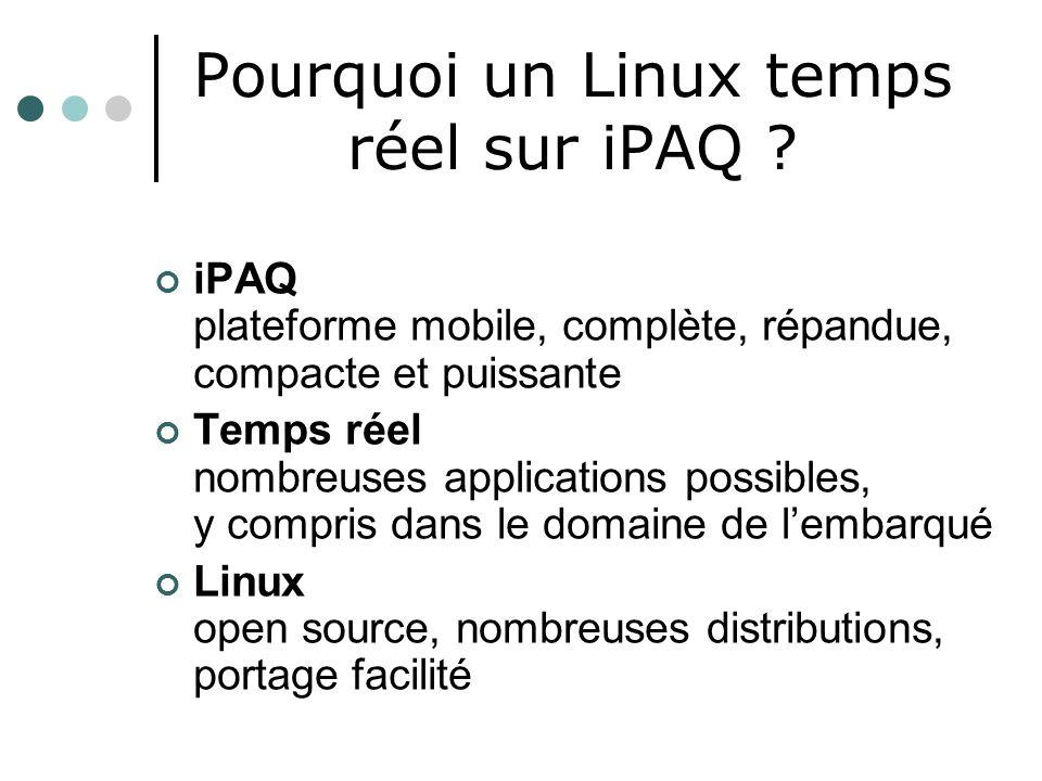 Pourquoi un Linux temps réel sur iPAQ ? iPAQ plateforme mobile, complète, répandue, compacte et puissante Temps réel nombreuses applications possibles