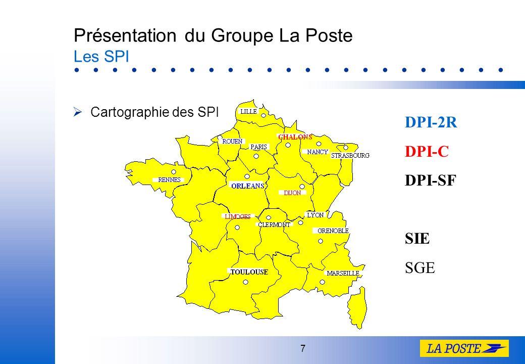 7 Présentation du Groupe La Poste Les SPI Cartographie des SPI DPI-2R DPI-C DPI-SF SIE SGE