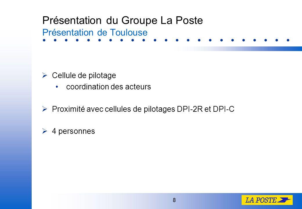 8 Présentation du Groupe La Poste Présentation de Toulouse Cellule de pilotage coordination des acteurs Proximité avec cellules de pilotages DPI-2R et DPI-C 4 personnes