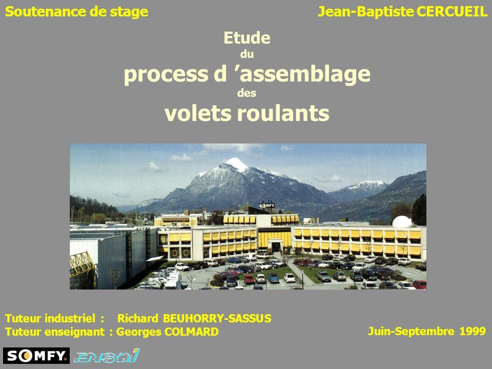 Soutenance de stageJean-Baptiste CERCUEIL Etude du process d assemblage des volets roulants Juin-Septembre 1999 Tuteur industriel : Richard BEUHORRY-S