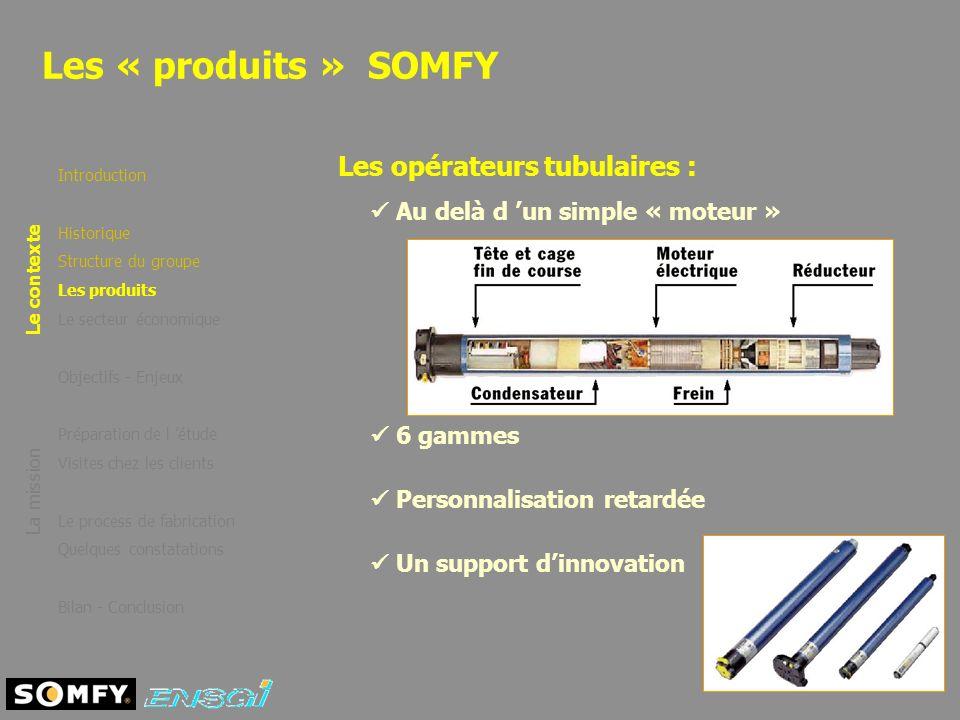 Les « produits » SOMFY Introduction Historique Structure du groupe Les produits Le secteur économique Objectifs - Enjeux Préparation de l étude Visite