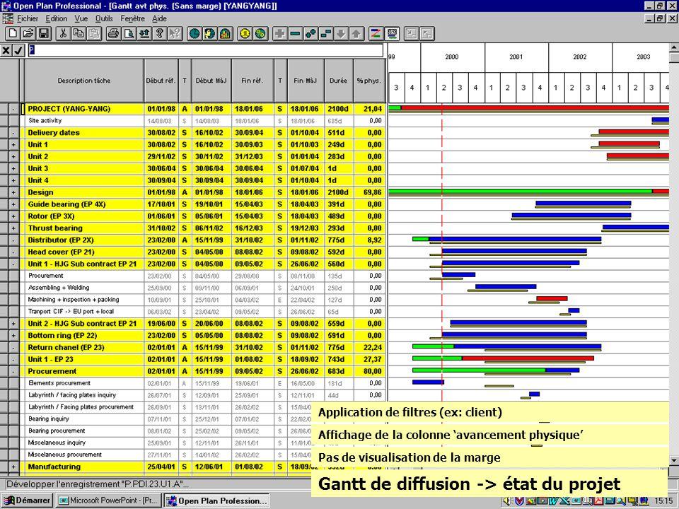 Gantt de diffusion -> état du projet Pas de visualisation de la marge Affichage de la colonne avancement physique Application de filtres (ex: client)
