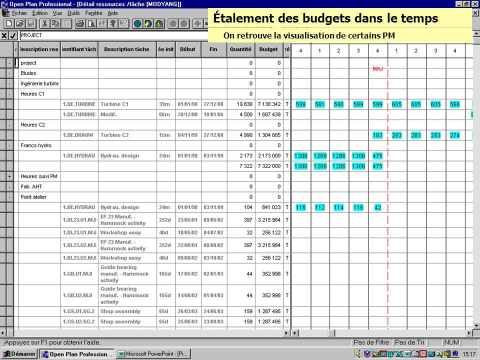 Étalement des budgets dans le temps On retrouve la visualisation de certains PM
